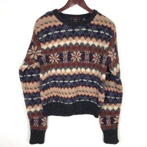 American Eagle Vtg Wool Striped Fair Isle Sweater